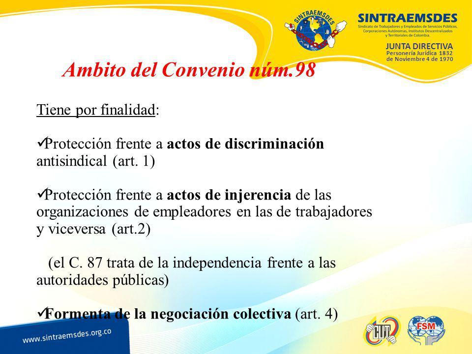 JUNTA DIRECTIVA Personería Jurídica 1832 de Noviembre 4 de 1970 Ambito del Convenio núm.98 Tiene por finalidad: Protección frente a actos de discriminación antisindical (art.
