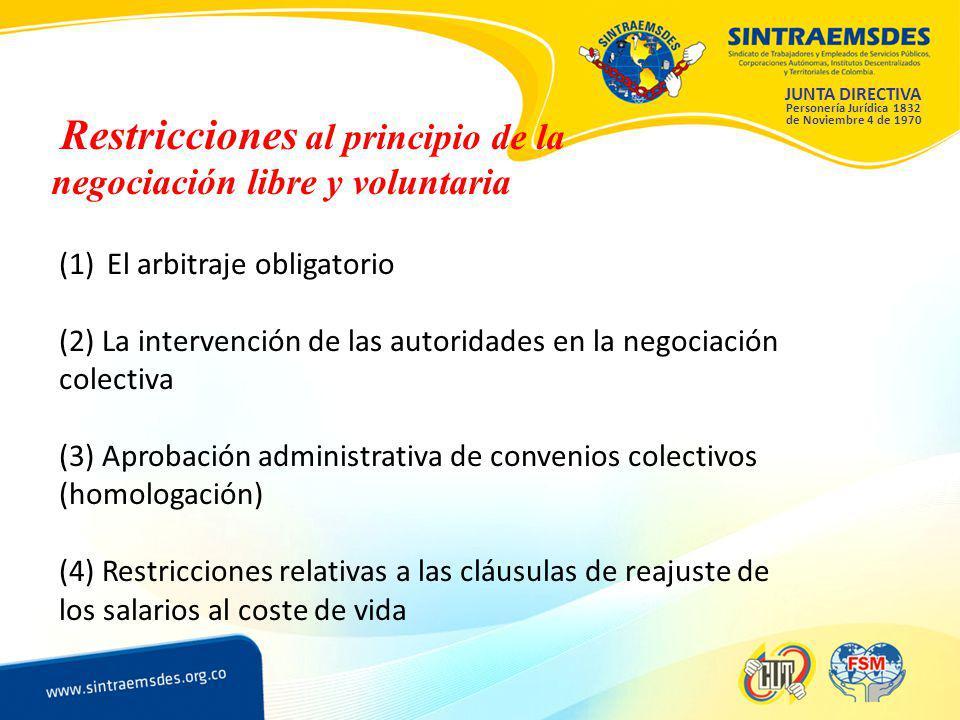 JUNTA DIRECTIVA Personería Jurídica 1832 de Noviembre 4 de 1970 Restricciones al principio de la negociación libre y voluntaria (1)El arbitraje obligatorio (2) La intervención de las autoridades en la negociación colectiva (3) Aprobación administrativa de convenios colectivos (homologación) (4) Restricciones relativas a las cláusulas de reajuste de los salarios al coste de vida