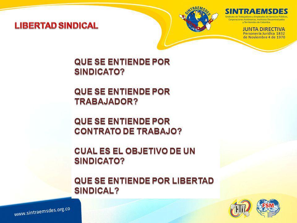 JUNTA DIRECTIVA Personería Jurídica 1832 de Noviembre 4 de 1970 QUE SE ENTIENDE POR SINDICATO.