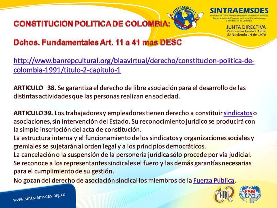 JUNTA DIRECTIVA Personería Jurídica 1832 de Noviembre 4 de 1970