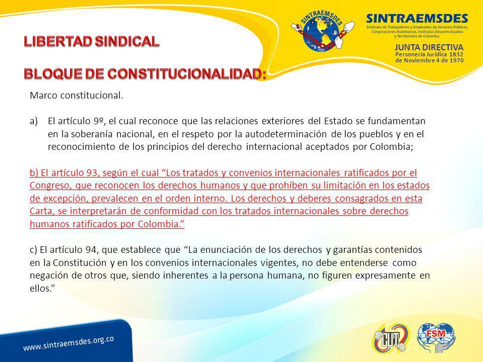 JUNTA DIRECTIVA Personería Jurídica 1832 de Noviembre 4 de 1970 Marco constitucional.