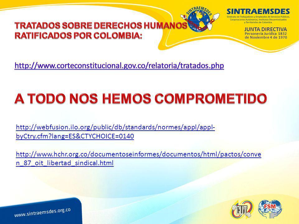 JUNTA DIRECTIVA Personería Jurídica 1832 de Noviembre 4 de 1970 http://webfusion.ilo.org/public/db/standards/normes/appl/appl- byCtry.cfm lang=ES&CTYCHOICE=0140 http://www.hchr.org.co/documentoseinformes/documentos/html/pactos/conve n_87_oit_libertad_sindical.html
