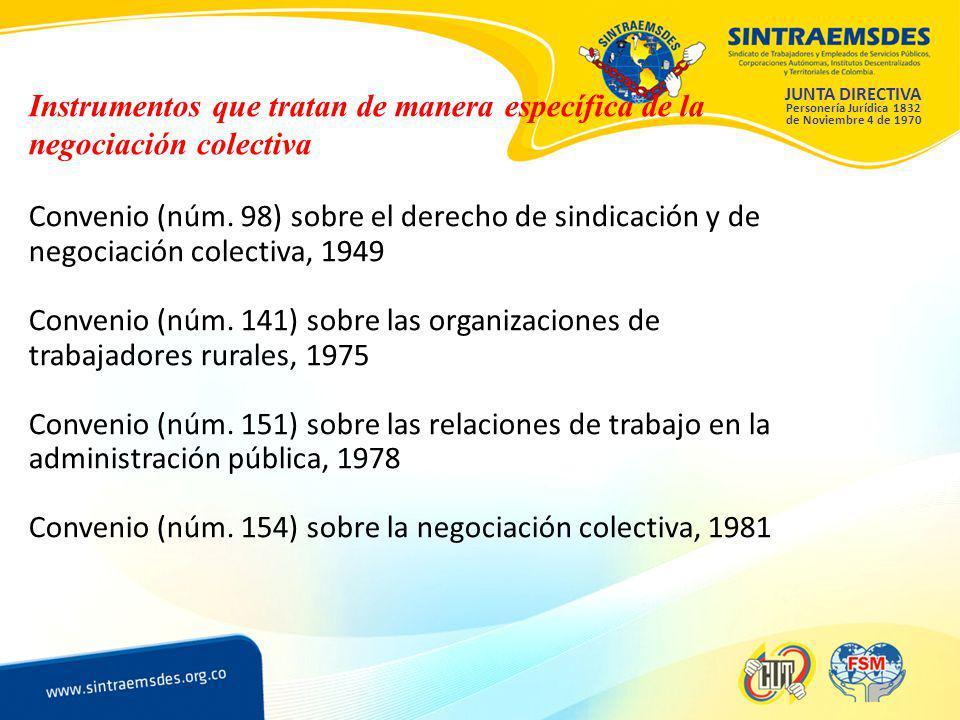 JUNTA DIRECTIVA Personería Jurídica 1832 de Noviembre 4 de 1970 Instrumentos que tratan de manera específica de la negociación colectiva Convenio (núm.