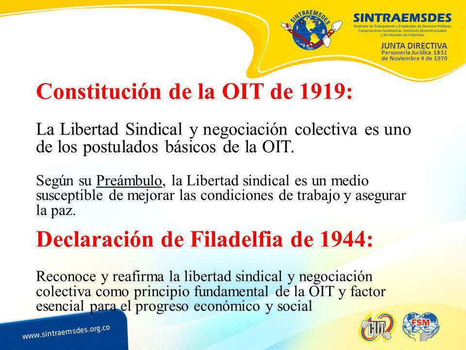JUNTA DIRECTIVA Personería Jurídica 1832 de Noviembre 4 de 1970 Constitución de la OIT de 1919: La Libertad Sindical y negociación colectiva es uno de los postulados básicos de la OIT.