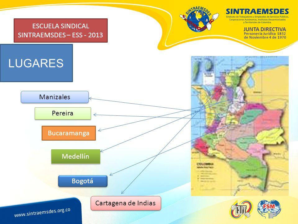 JUNTA DIRECTIVA Personería Jurídica 1832 de Noviembre 4 de 1970 ESCUELA SINDICAL SINTRAEMSDES – ESS - 2013 LUGARES Manizales Pereira Bucaramanga Medellín Bogotá Cartagena de Indias