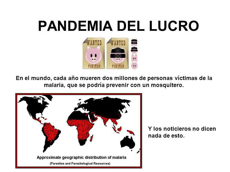 PANDEMIA DEL LUCRO En el mundo, cada año mueren dos millones de personas víctimas de la malaria, que se podría prevenir con un mosquitero.