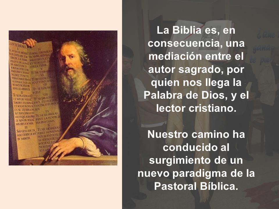 La Biblia es, en consecuencia, una mediación entre el autor sagrado, por quien nos llega la Palabra de Dios, y el lector cristiano. Nuestro camino ha