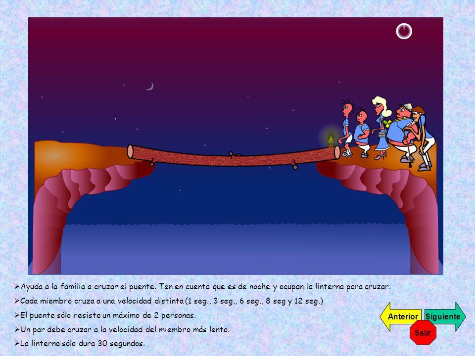 Ayuda a la familia a cruzar el puente. Ten en cuenta que es de noche y ocupan la linterna para cruzar. Cada miembro cruza a una velocidad distinta (1