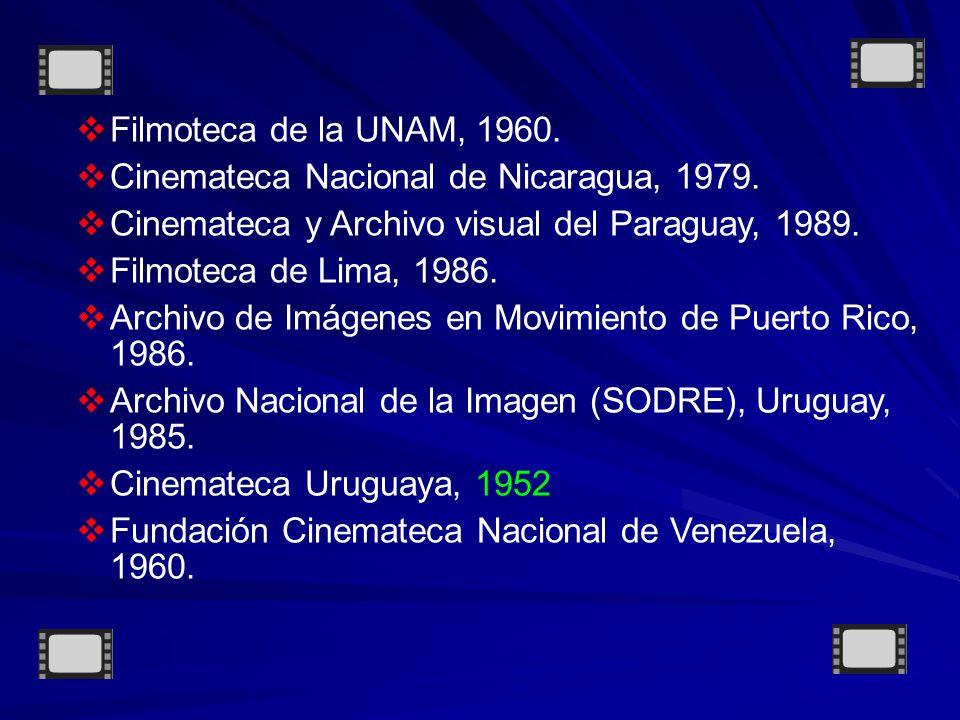 Filmoteca de la UNAM, 1960.Cinemateca Nacional de Nicaragua, 1979.
