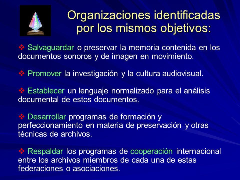 Organizaciones identificadas por los mismos objetivos: Salvaguardar o preservar la memoria contenida en los documentos sonoros y de imagen en movimiento.