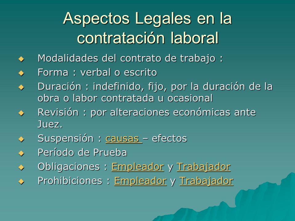 Aspectos Legales en la contratación laboral Modalidades del contrato de trabajo : Modalidades del contrato de trabajo : Forma : verbal o escrito Forma