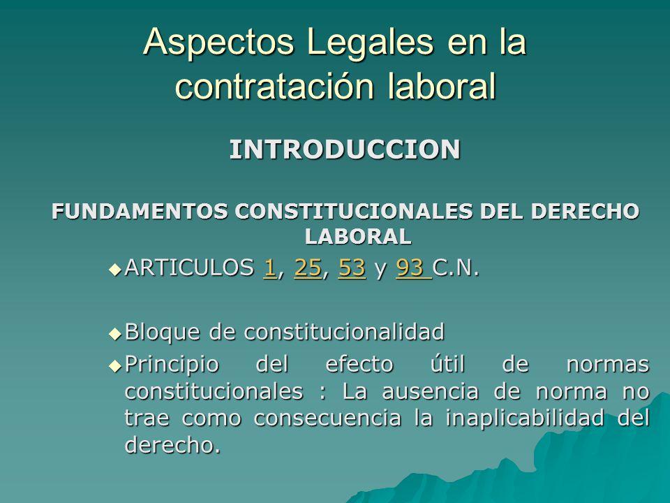 Aspectos Legales en la contratación laboral INTRODUCCION FUNDAMENTOS CONSTITUCIONALES DEL DERECHO LABORAL ARTICULOS 1, 25, 53 y 93 C.N. ARTICULOS 1, 2