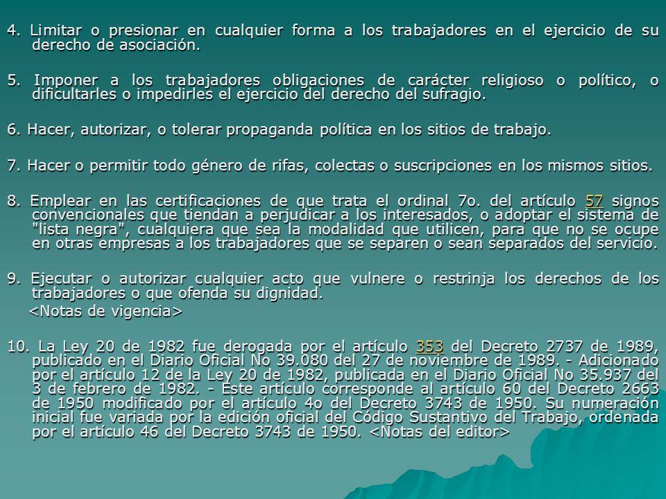 4. Limitar o presionar en cualquier forma a los trabajadores en el ejercicio de su derecho de asociación. 5. Imponer a los trabajadores obligaciones d