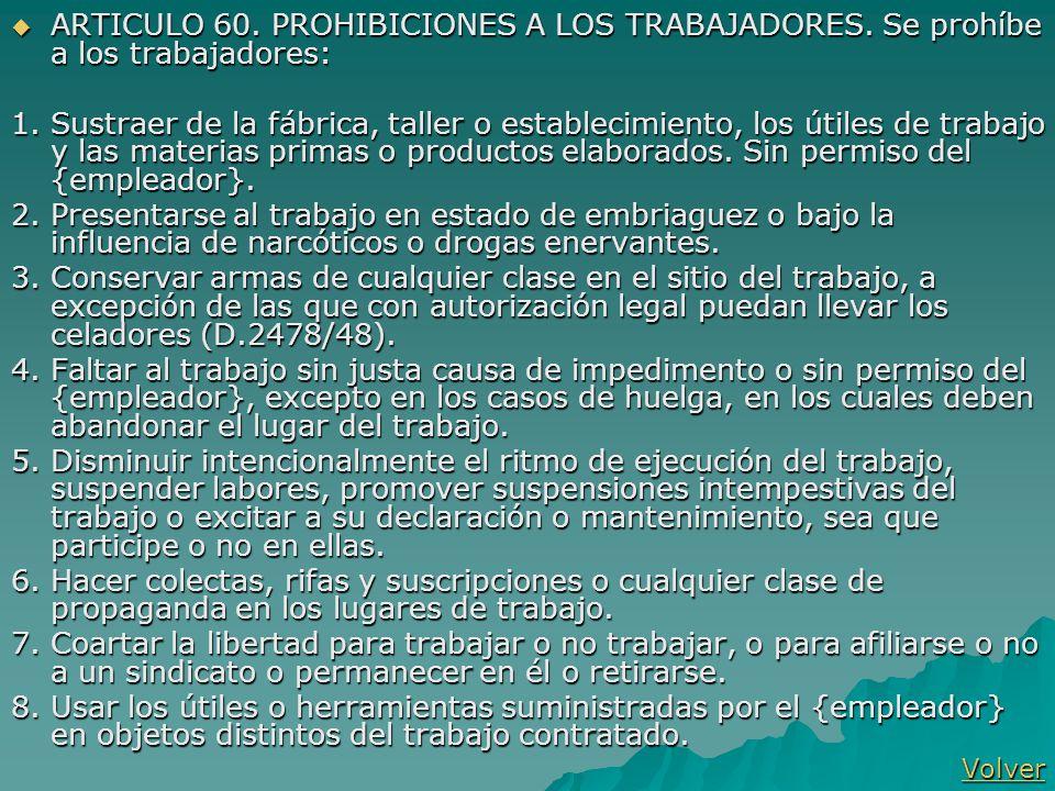 ARTICULO 60. PROHIBICIONES A LOS TRABAJADORES. Se prohíbe a los trabajadores: ARTICULO 60. PROHIBICIONES A LOS TRABAJADORES. Se prohíbe a los trabajad