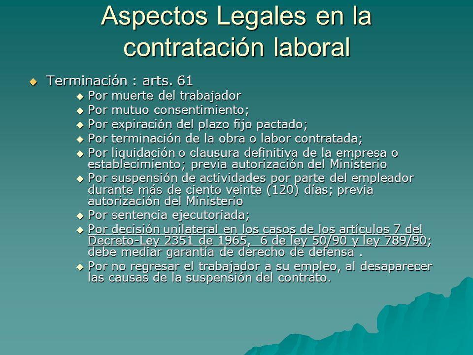Aspectos Legales en la contratación laboral Terminación : arts. 61 Terminación : arts. 61 Por muerte del trabajador Por muerte del trabajador Por mutu