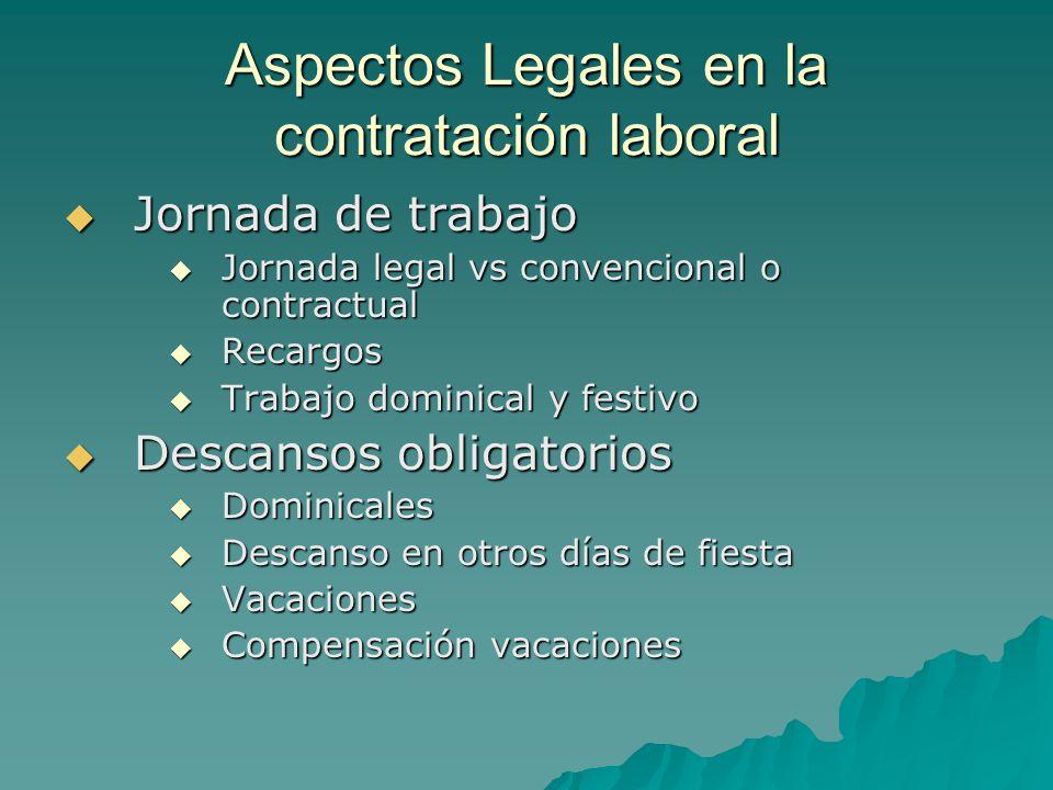 Aspectos Legales en la contratación laboral Jornada de trabajo Jornada de trabajo Jornada legal vs convencional o contractual Jornada legal vs convenc