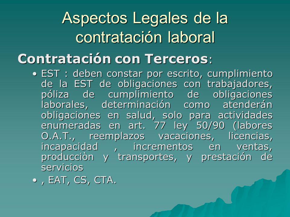 Aspectos Legales de la contratación laboral Contratación con Terceros : EST : deben constar por escrito, cumplimiento de la EST de obligaciones con tr