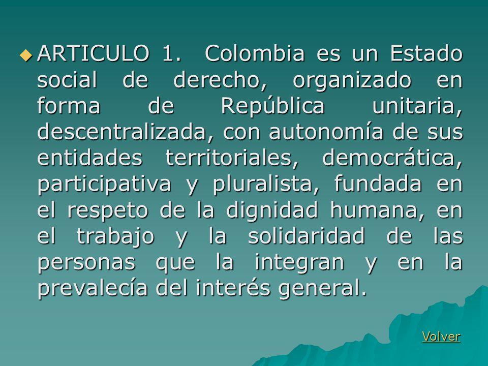 ARTICULO 1. Colombia es un Estado social de derecho, organizado en forma de República unitaria, descentralizada, con autonomía de sus entidades territ
