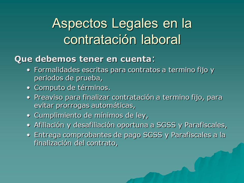 Aspectos Legales en la contratación laboral Que debemos tener en cuenta : Formalidades escritas para contratos a termino fijo y periodos de prueba,For
