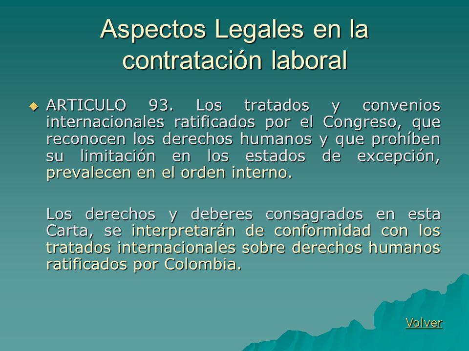 Aspectos Legales en la contratación laboral ARTICULO 93. Los tratados y convenios internacionales ratificados por el Congreso, que reconocen los derec