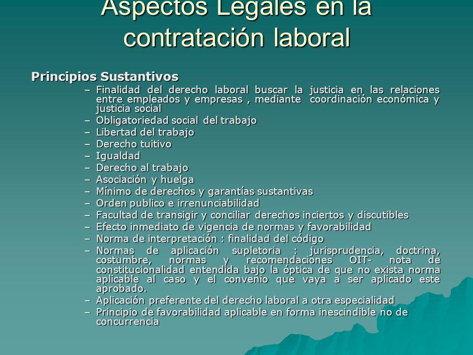 Aspectos Legales en la contratación laboral Principios Sustantivos –Finalidad del derecho laboral buscar la justicia en las relaciones entre empleados