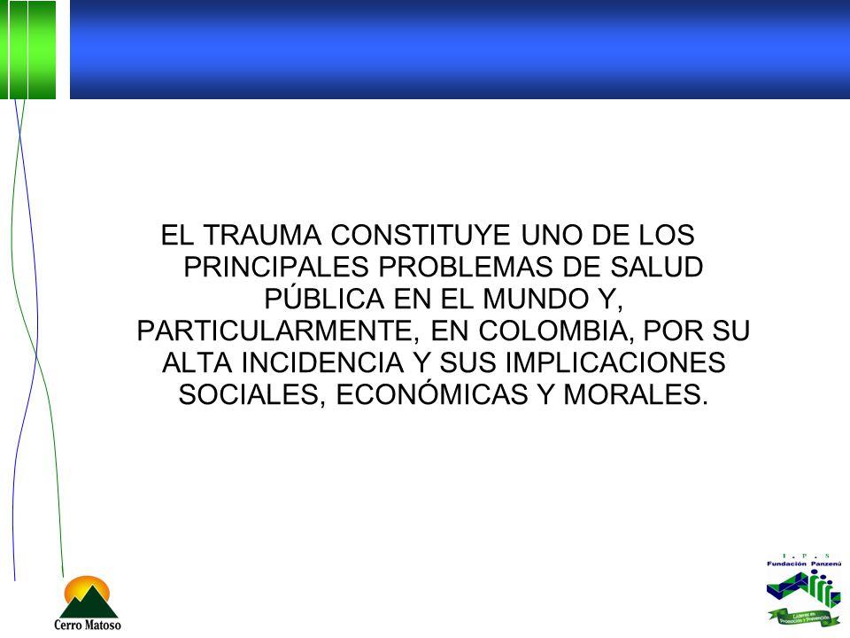 EL TRAUMA CONSTITUYE UNO DE LOS PRINCIPALES PROBLEMAS DE SALUD PÚBLICA EN EL MUNDO Y, PARTICULARMENTE, EN COLOMBIA, POR SU ALTA INCIDENCIA Y SUS IMPLI