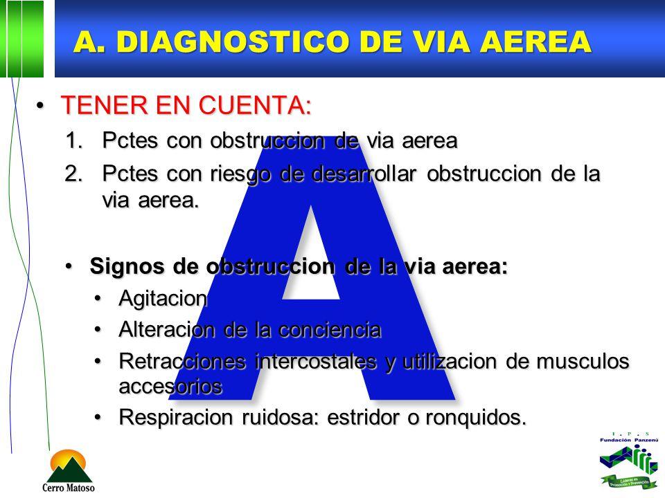 A A. DIAGNOSTICO DE VIA AEREA TENER EN CUENTA:TENER EN CUENTA: 1.Pctes con obstruccion de via aerea 2.Pctes con riesgo de desarrollar obstruccion de l