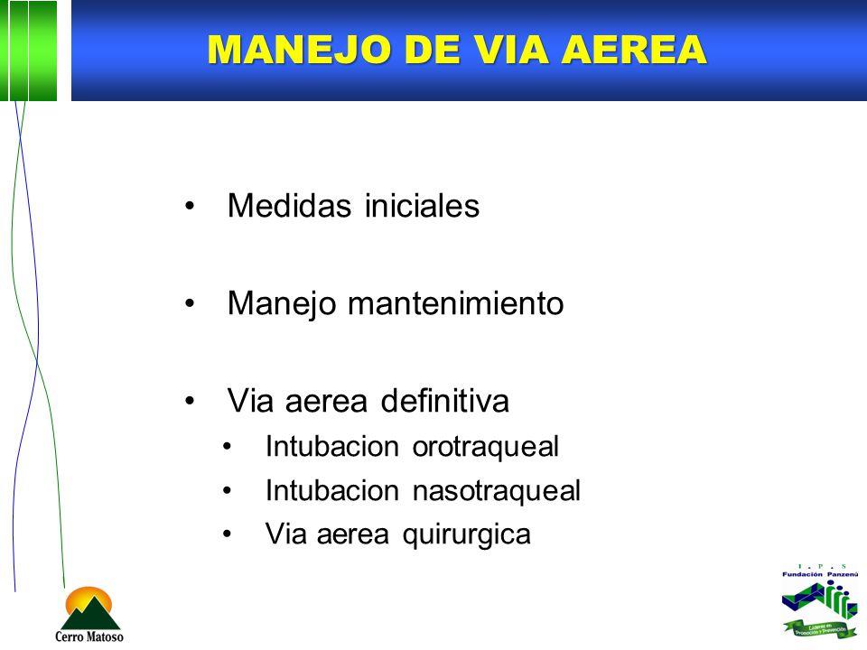 MANEJO DE VIA AEREA Medidas iniciales Manejo mantenimiento Via aerea definitiva Intubacion orotraqueal Intubacion nasotraqueal Via aerea quirurgica