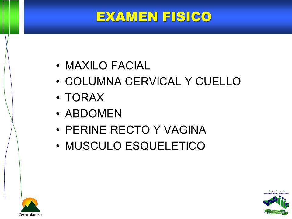 EXAMEN FISICO MAXILO FACIAL COLUMNA CERVICAL Y CUELLO TORAX ABDOMEN PERINE RECTO Y VAGINA MUSCULO ESQUELETICO