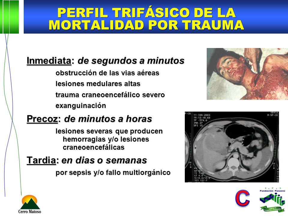PERFIL TRIFÁSICO DE LA MORTALIDAD POR TRAUMA Inmediata: de segundos a minutos obstrucción de las vias aéreas lesiones medulares altas trauma craneoenc