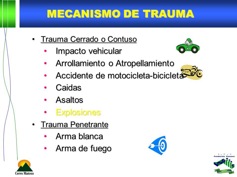 MECANISMO DE TRAUMA Trauma Cerrado o ContusoTrauma Cerrado o Contuso Impacto vehicularImpacto vehicular Arrollamiento o AtropellamientoArrollamiento o