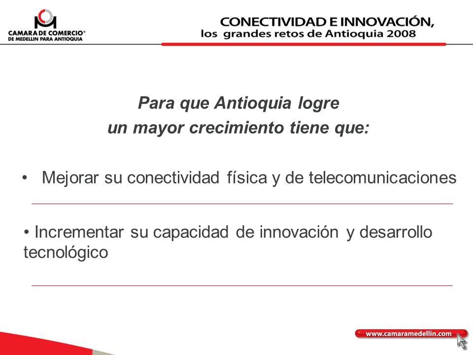 Para que Antioquia logre un mayor crecimiento tiene que: Mejorar su conectividad física y de telecomunicaciones Incrementar su capacidad de innovación