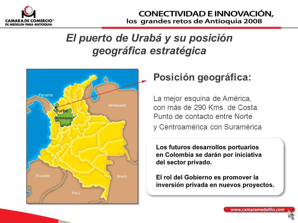 El puerto de Urabá y su posición geográfica estratégica Posición geográfica: La mejor esquina de América, con más de 290 Kms. de Costa. Punto de conta