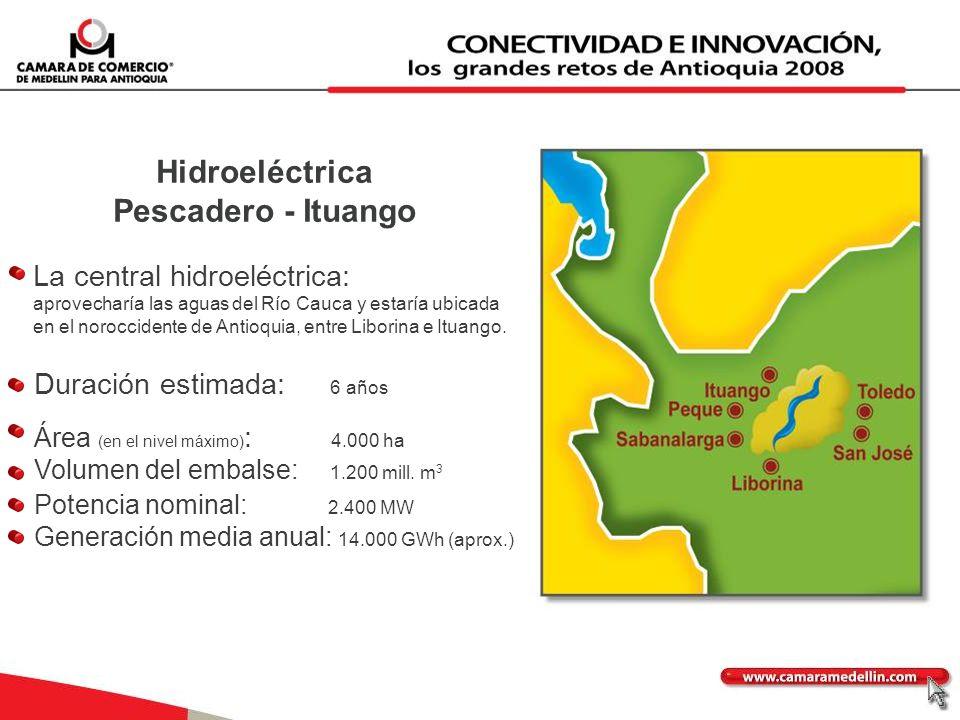 La central hidroeléctrica: aprovecharía las aguas del Río Cauca y estaría ubicada en el noroccidente de Antioquia, entre Liborina e Ituango. Duración