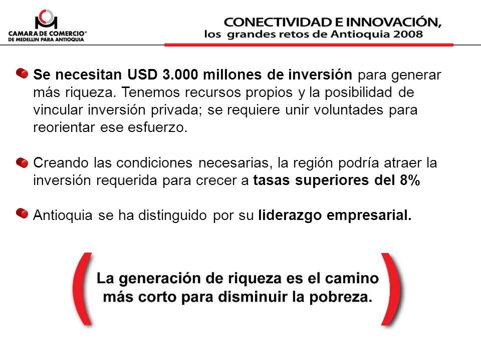 Se necesitan USD 3.000 millones de inversión para generar más riqueza. Tenemos recursos propios y la posibilidad de vincular inversión privada; se req