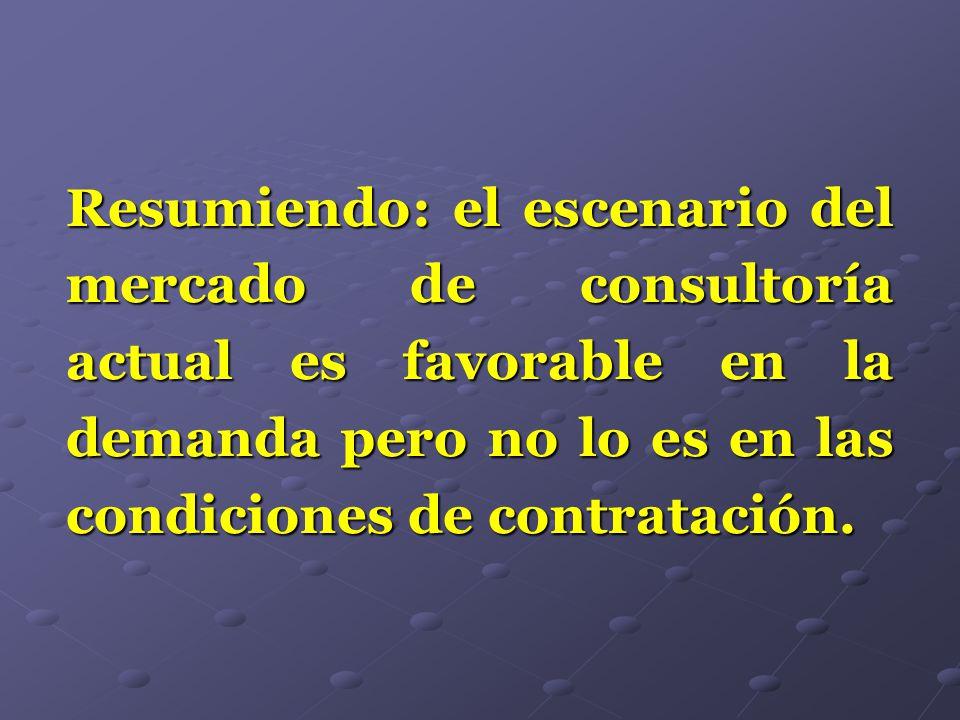 Resumiendo: el escenario del mercado de consultoría actual es favorable en la demanda pero no lo es en las condiciones de contratación.