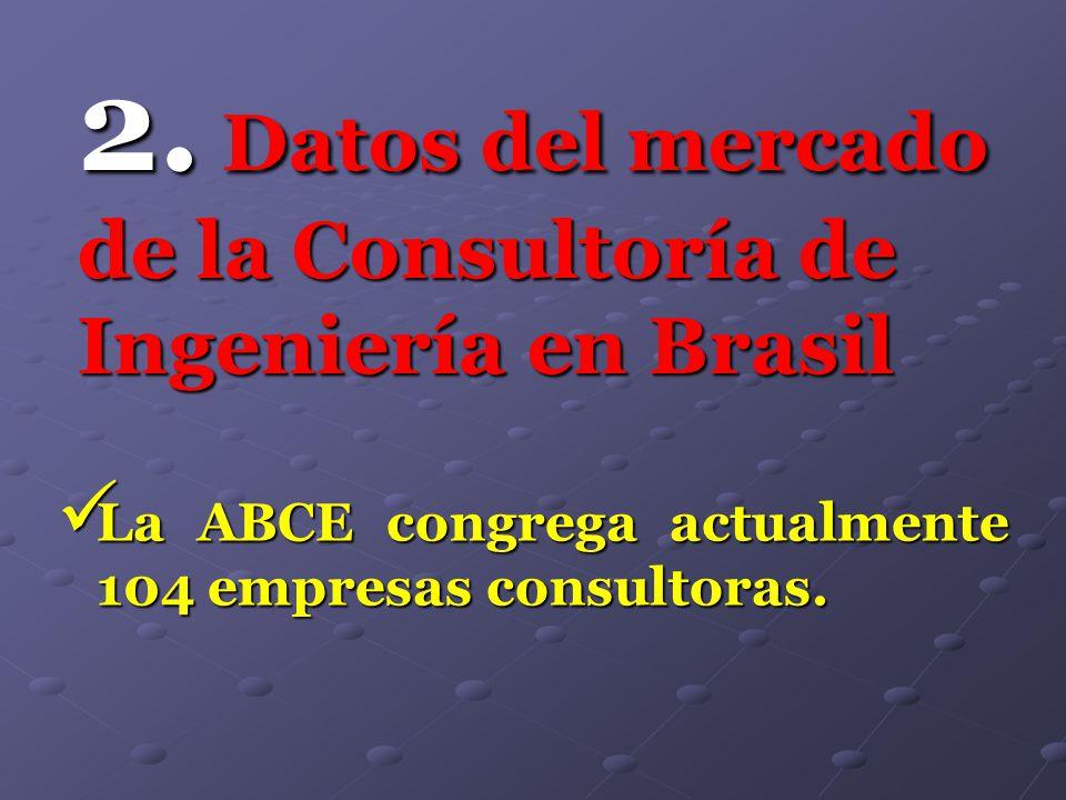 2. Datos del mercado de la Consultoría de Ingeniería en Brasil La ABCE congrega actualmente 104 empresas consultoras. La ABCE congrega actualmente 104