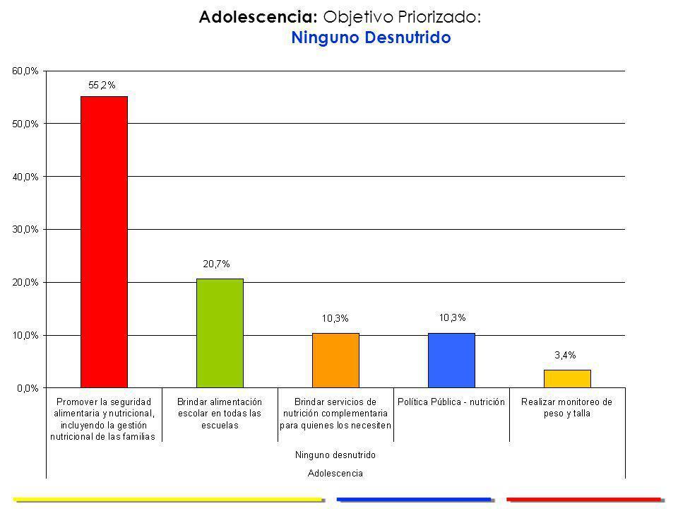 Dirección de Cooperación Internacional Adolescencia: Objetivo Priorizado: Ninguno Desnutrido