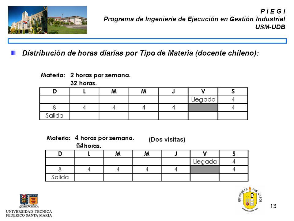 13 P I E G I Programa de Ingeniería de Ejecución en Gestión Industrial USM-UDB Distribución de horas diarias por Tipo de Materia (docente chileno):