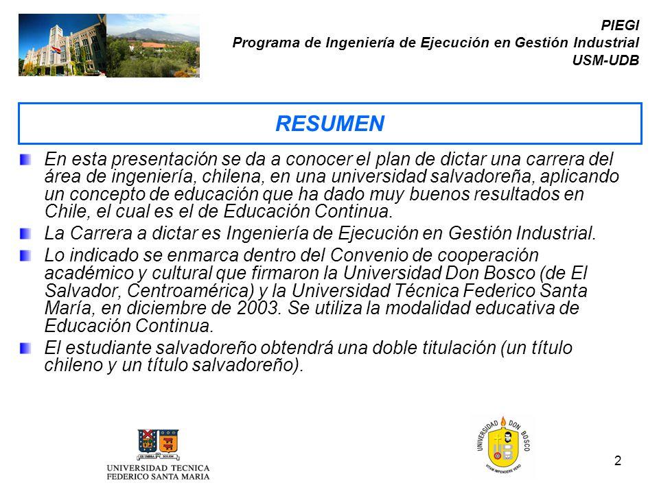 2 PIEGI Programa de Ingeniería de Ejecución en Gestión Industrial USM-UDB En esta presentación se da a conocer el plan de dictar una carrera del área