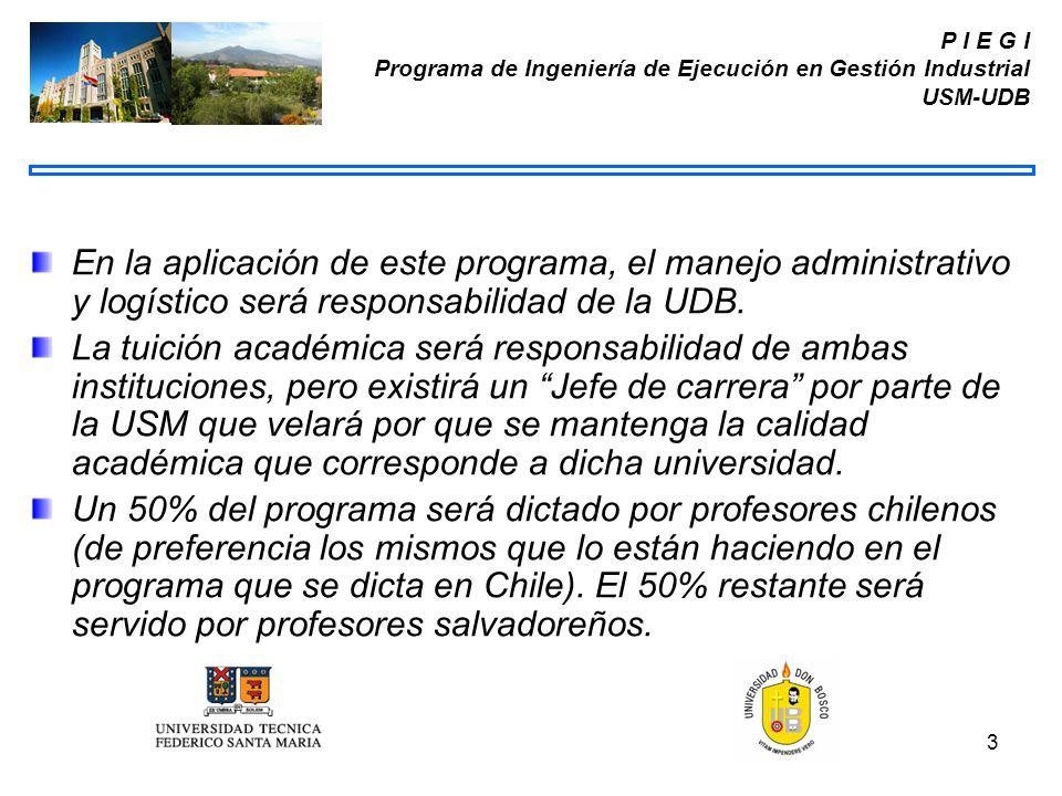 3 P I E G I Programa de Ingeniería de Ejecución en Gestión Industrial USM-UDB En la aplicación de este programa, el manejo administrativo y logístico