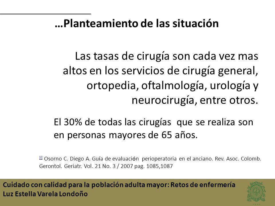 Cuidado con calidad para la población adulta mayor: Retos de enfermería Luz Estella Varela Londoño Las tasas de cirug í a son cada vez mas altos en lo