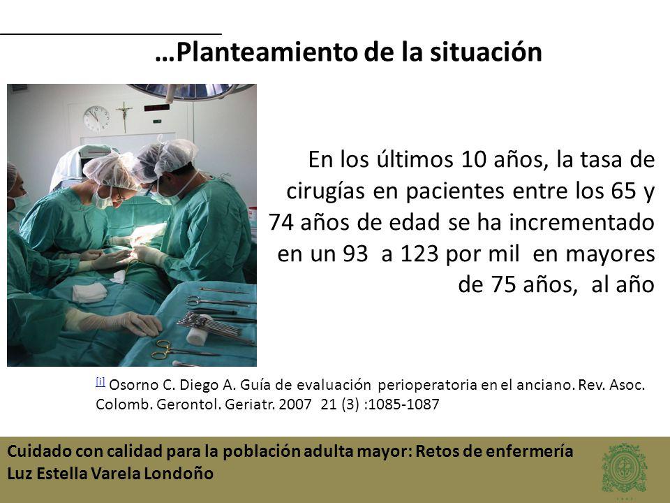 Cuidado con calidad para la población adulta mayor: Retos de enfermería Luz Estella Varela Londoño …Planteamiento de la situación En los últimos 10 añ