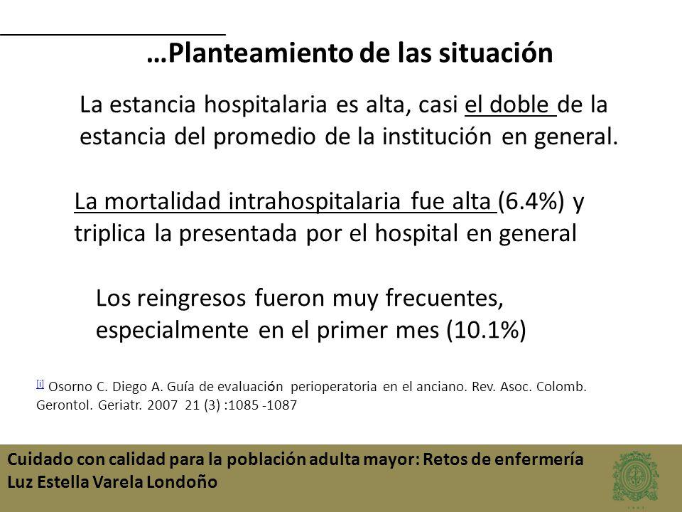 Cuidado con calidad para la población adulta mayor: Retos de enfermería Luz Estella Varela Londoño …Planteamiento de las situación La estancia hospita