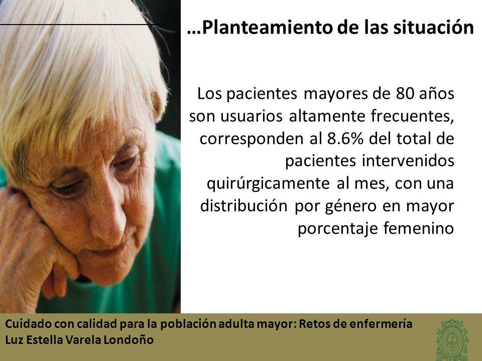 …Planteamiento de las situación Los pacientes mayores de 80 años son usuarios altamente frecuentes, corresponden al 8.6% del total de pacientes interv