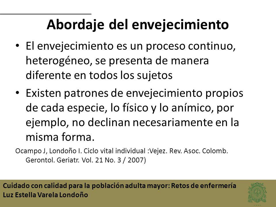 Cuidado con calidad para la población adulta mayor: Retos de enfermería Luz Estella Varela Londoño Abordaje del envejecimiento El envejecimiento es un