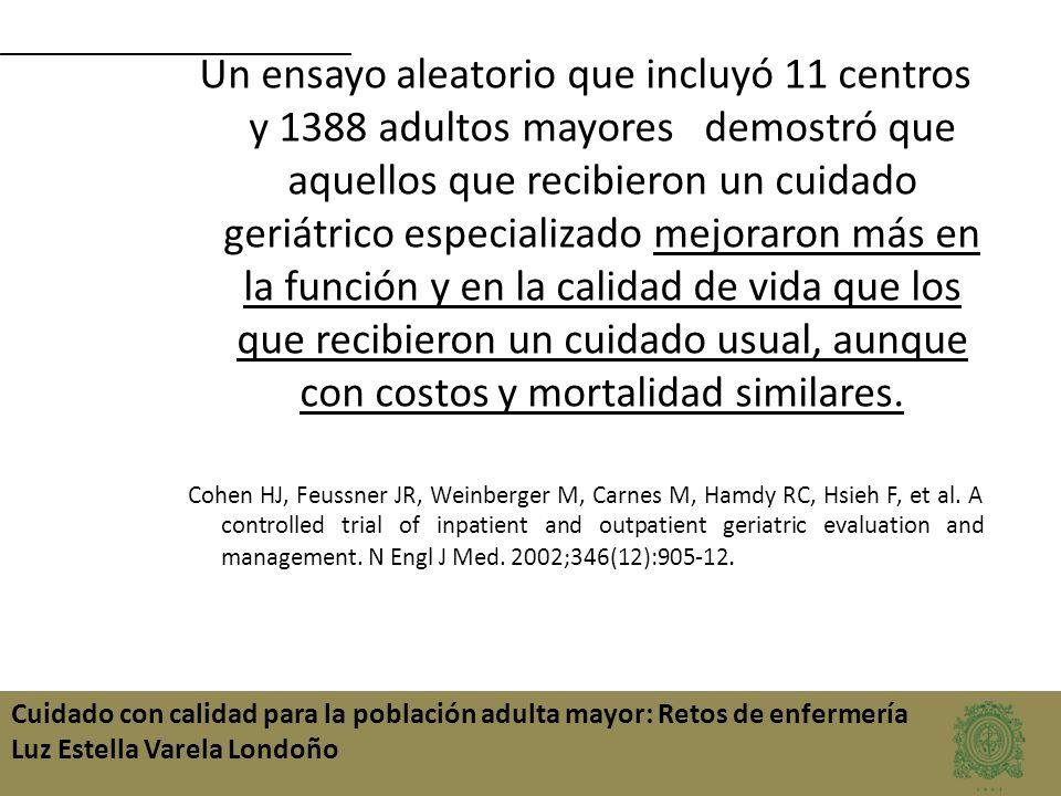 Cuidado con calidad para la población adulta mayor: Retos de enfermería Luz Estella Varela Londoño Un ensayo aleatorio que incluyó 11 centros y 1388 a