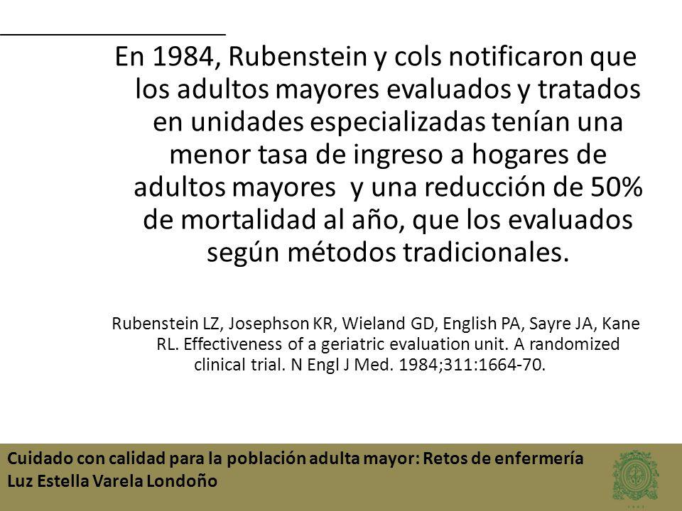 Cuidado con calidad para la población adulta mayor: Retos de enfermería Luz Estella Varela Londoño En 1984, Rubenstein y cols notificaron que los adul