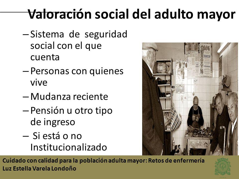 Cuidado con calidad para la población adulta mayor: Retos de enfermería Luz Estella Varela Londoño – Sistema de seguridad social con el que cuenta – P