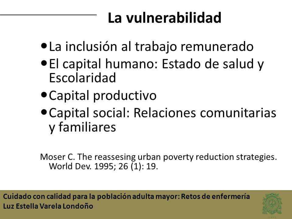 Cuidado con calidad para la población adulta mayor: Retos de enfermería Luz Estella Varela Londoño La inclusión al trabajo remunerado El capital human